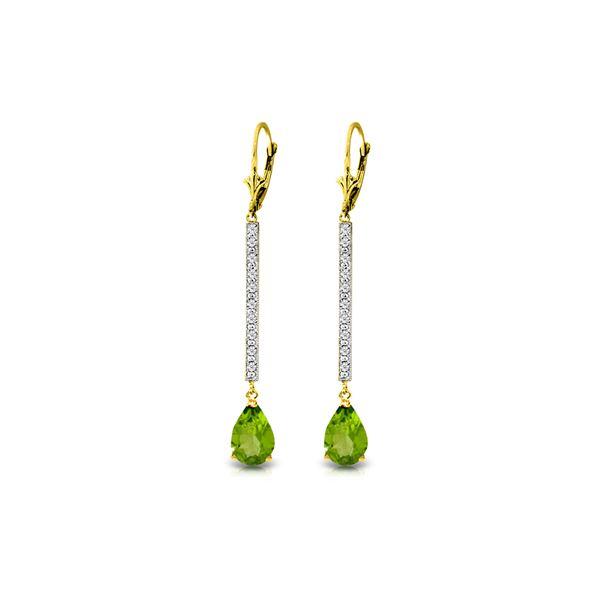 Genuine 3.6 ctw Peridot & Diamond Earrings 14KT Yellow Gold - REF-50H9X