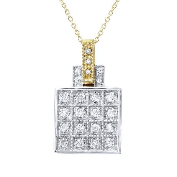 Natural 0.32 CTW Diamond & Pendant 14K Two Tone Yellow Gold - REF-54F9M