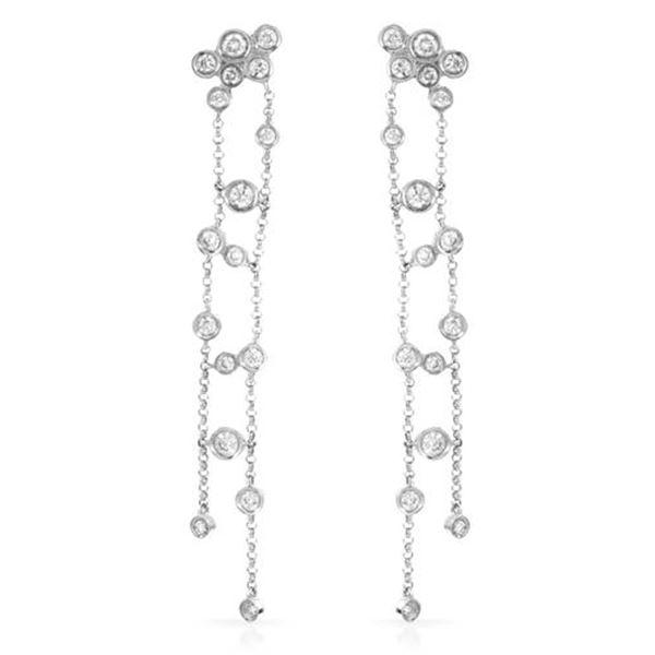 Natural 0.94 CTW Diamond Earrings 14K White Gold - REF-85T5X