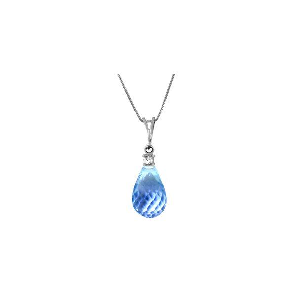 Genuine 2.3 ctw Blue Topaz & Diamond Necklace 14KT White Gold - REF-22Z8N