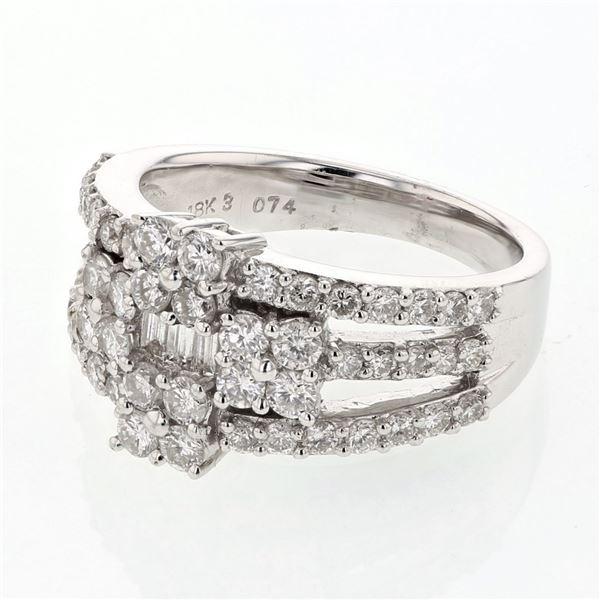 Natural 1.56 CTW Diamond & Baguette Ring 18K White Gold - REF-232N2Y