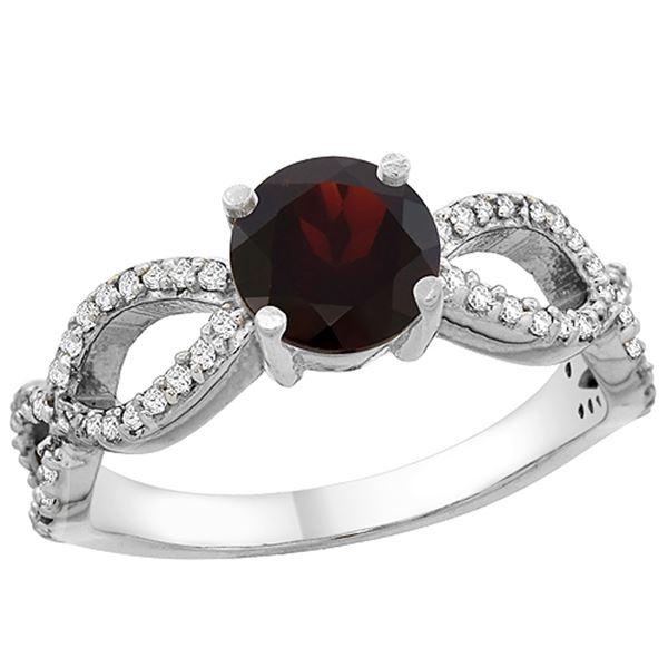 1.26 CTW Garnet & Diamond Ring 14K White Gold - REF-49A9X