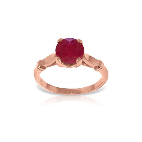 Genuine 2 ctw Ruby Ring 14KT Rose Gold - REF-58H3X