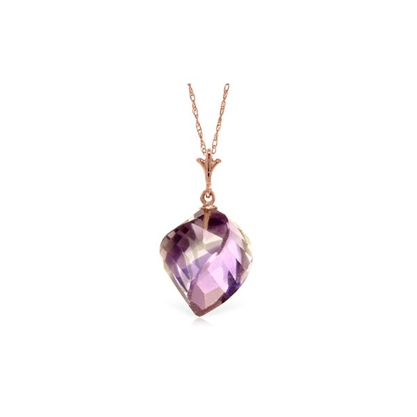 Genuine 10.75 ctw Amethyst Necklace 14KT Rose Gold - REF-25Y4F