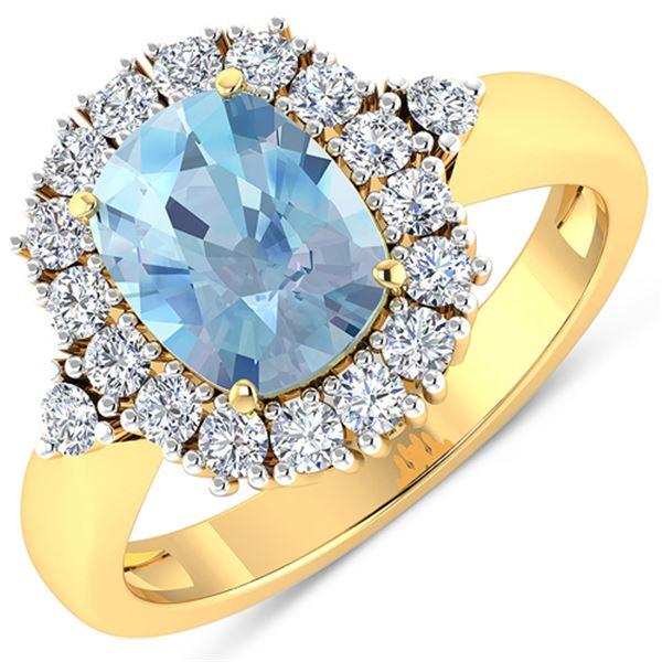 Natural 2.34 CTW Aquamarine & Diamond Ring 14K Yellow Gold - REF-82H3M
