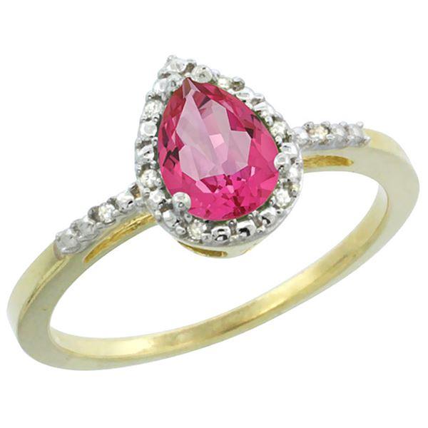 1.55 CTW Pink Topaz & Diamond Ring 10K Yellow Gold - REF-20M7K
