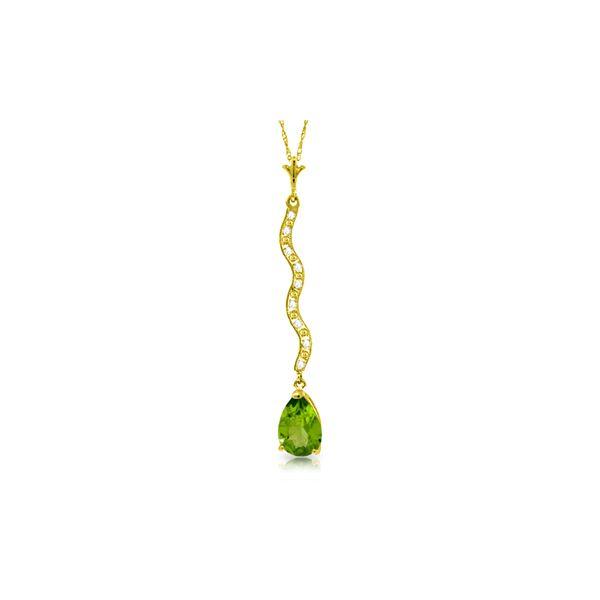 Genuine 1.79 ctw Peridot & Diamond Necklace 14KT White Gold - REF-34Y6F