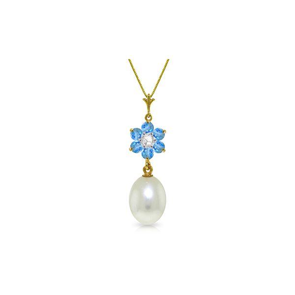 Genuine 4.53 ctw Blue Topaz & Diamond Necklace 14KT Yellow Gold - REF-29N7R