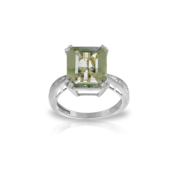 Genuine 5.62 ctw Green Amethyst & Diamond Ring 14KT White Gold - REF-82X9M