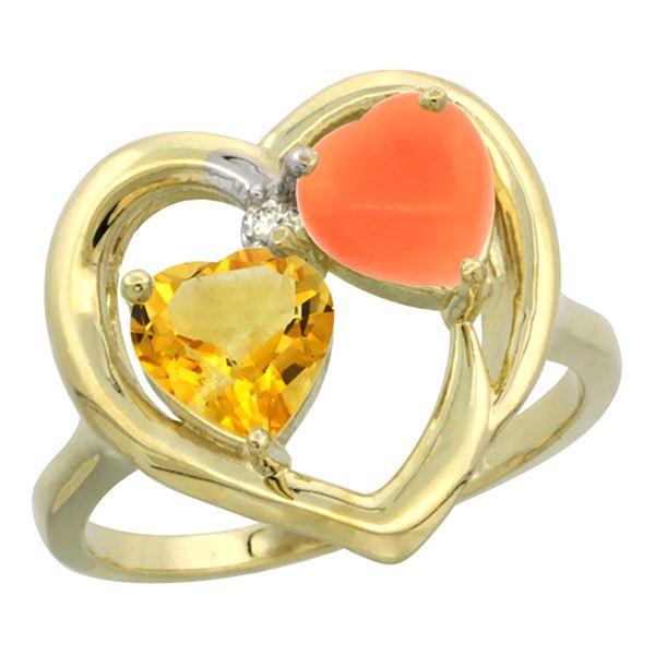 1.31 CTW Citrine & Diamond Ring 14K Yellow Gold - REF-33K5W