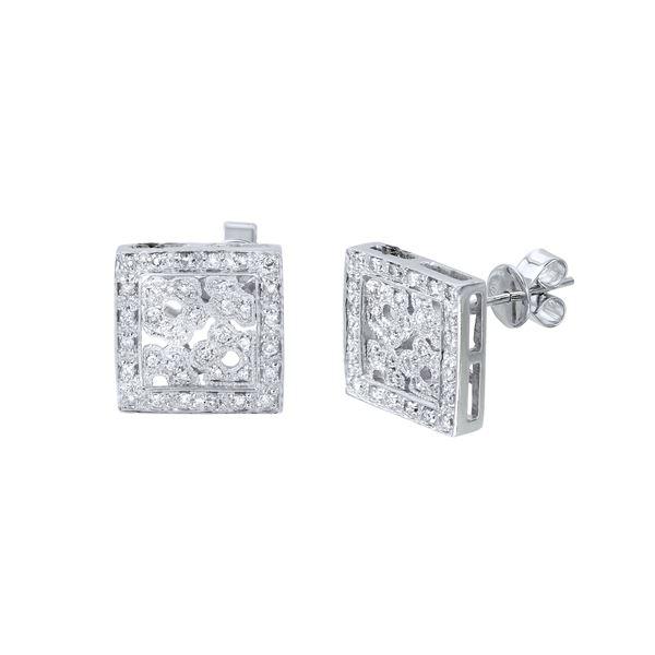 Natural 0.46 CTW Diamond Earrings 14K White Gold - REF-72K2R