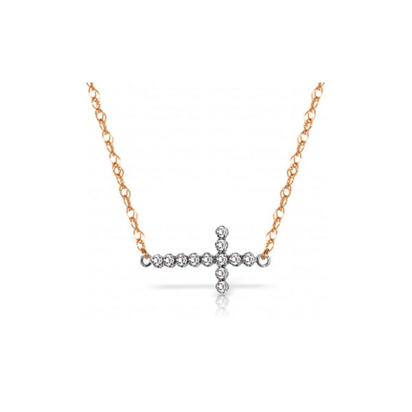 Genuine 0.18 ctw Diamond Anniversary Necklace 14KT Rose Gold - REF-46T2A