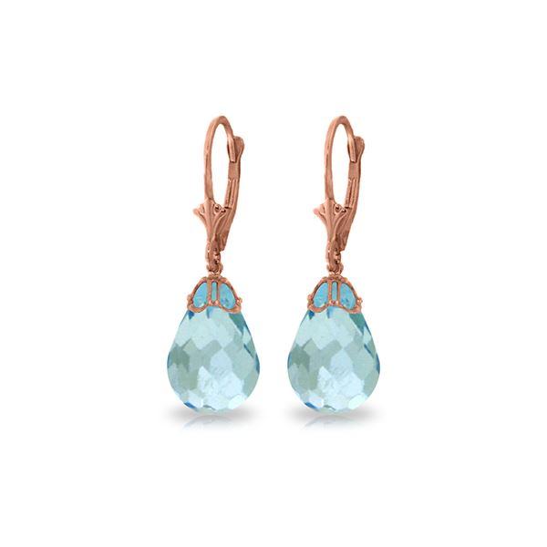 Genuine 20.5 ctw Blue Topaz Earrings 14KT Rose Gold - REF-36P8H
