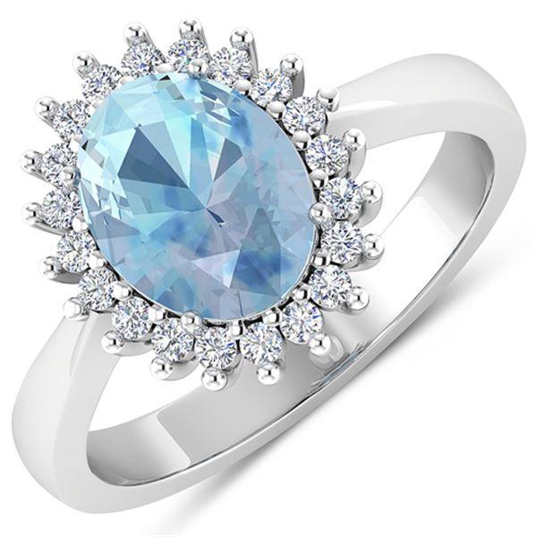 Natural 2.29 CTW Aquamarine & Diamond Ring 14K White Gold - REF-45W2X