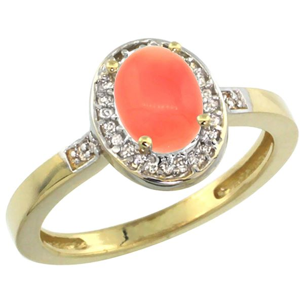 0.15 CTW Diamond & Natural Coral Ring 14K Yellow Gold - REF-37Y7V