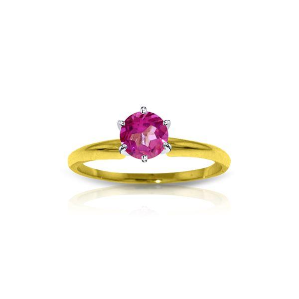 Genuine 0.65 ctw Pink Topaz Ring 14KT Yellow Gold - REF-27Z3N