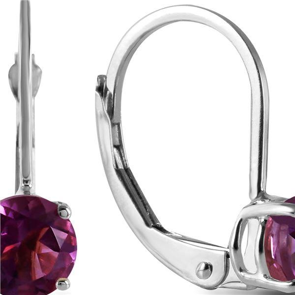 Genuine 1.20 ctw Amethyst Earrings 14KT White Gold - REF-23P2H