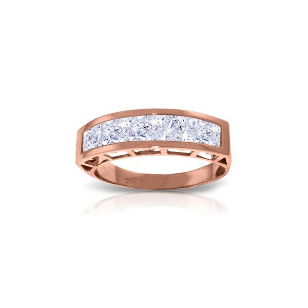 Genuine 2.25 ctw Aquamarine Ring 14KT Rose Gold - REF-60V3W