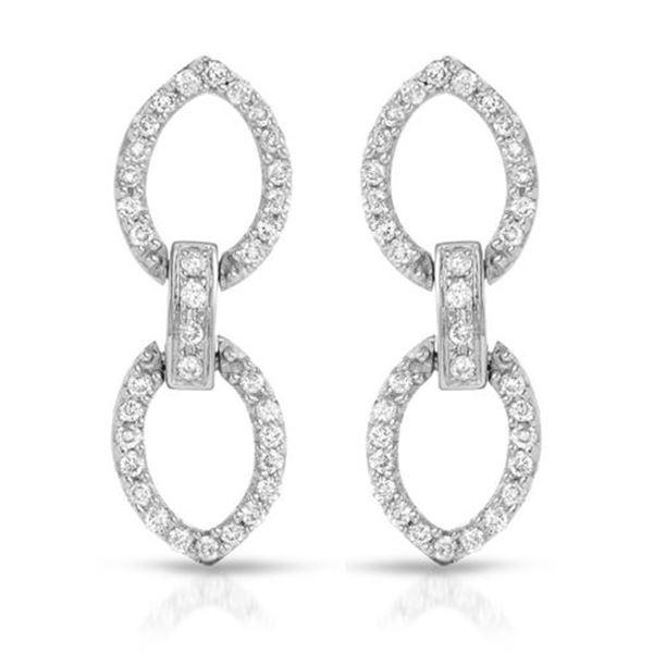 Natural 0.49 CTW Diamond Earrings 18K White Gold - REF-83K7R