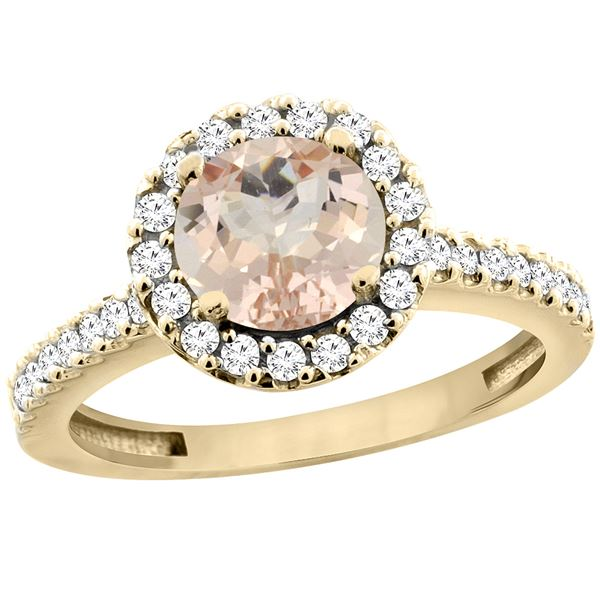 1.08 CTW Morganite & Diamond Ring 14K Yellow Gold - REF-55H5M