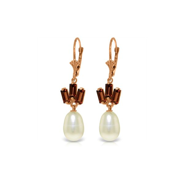 Genuine 9.35 ctw Pearl & Garnet Earrings 14KT Rose Gold - REF-26V6W