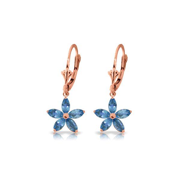 Genuine 2.8 ctw Blue Topaz Earrings 14KT Rose Gold - REF-46Z7N