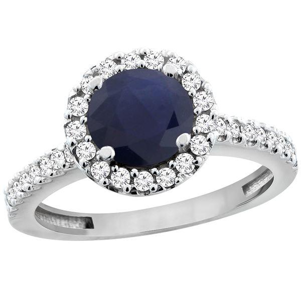 1.43 CTW Blue Sapphire & Diamond Ring 10K White Gold - REF-110K4W