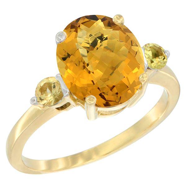 2.64 CTW Quartz & Yellow Sapphire Ring 10K Yellow Gold - REF-23A7X