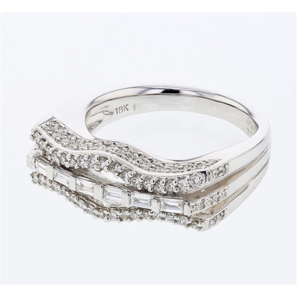 Natural 0.83 CTW Diamond & Baguette Ring 18K White Gold - REF-166N5Y
