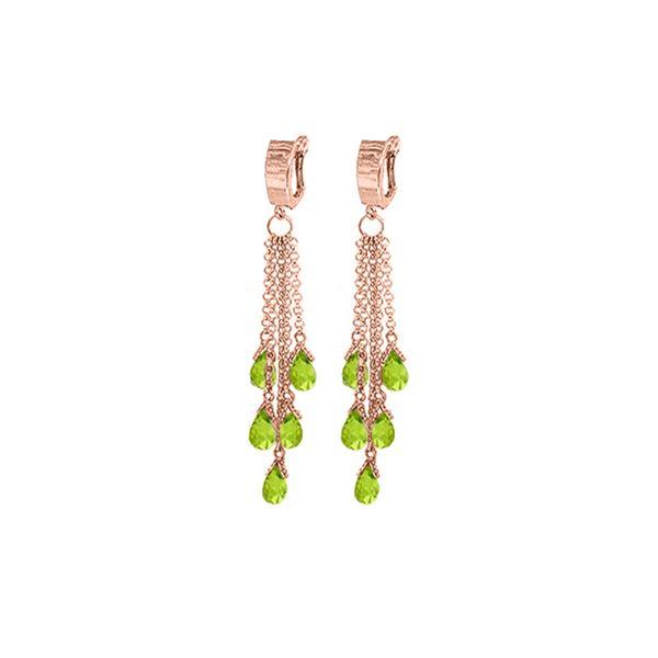 Genuine 7.3 ctw Peridot Earrings 14KT Rose Gold - REF-62X3M