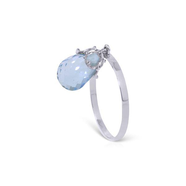 Genuine 3 ctw Blue Topaz Ring 14KT White Gold - REF-22K5V