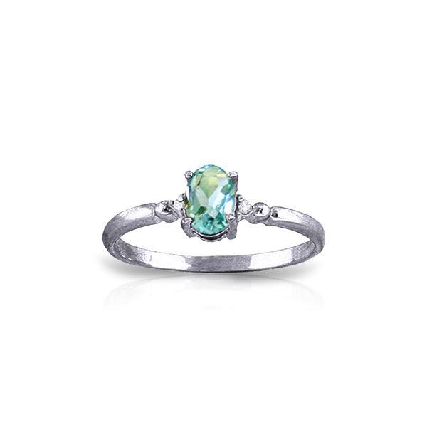 Genuine 0.46 ctw Blue Topaz & Diamond Ring 14KT White Gold - REF-27T3A