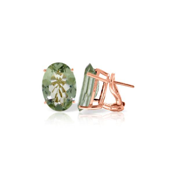 Genuine 15.1 ctw Green Amethyst Earrings 14KT Rose Gold - REF-59N6R