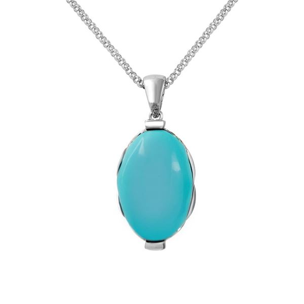 Natural 20.66 CTW Turquoise & Diamond Necklace 14K White Gold - REF-116K3R