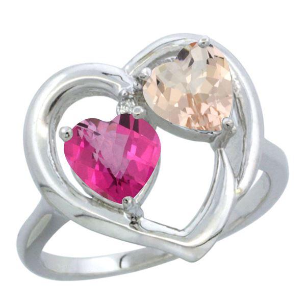 1.91 CTW Diamond, Pink Topaz & Morganite Ring 10K White Gold - REF-26W5F