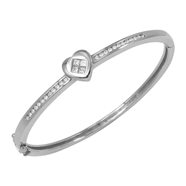 Natural 0.66 CTW Diamond & Princess Diamond Bangle 18K White Gold - REF-229T5X