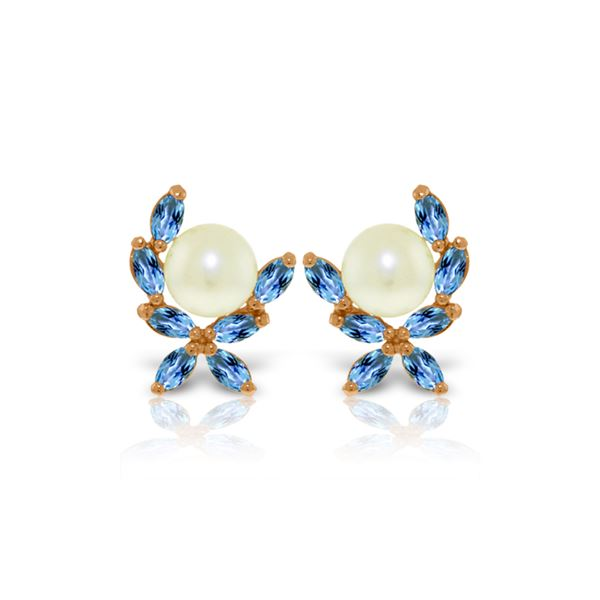 Genuine 3.25 ctw Blue Topaz Earrings 14KT Rose Gold - REF-30T2A