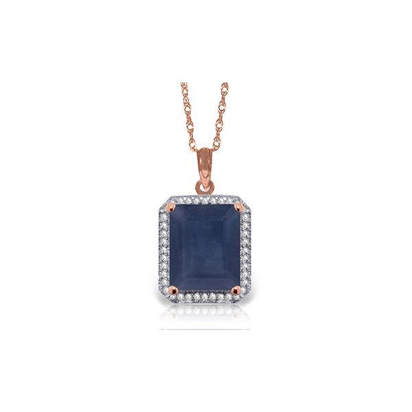 Genuine 6.6 ctw Sapphire & Diamond Necklace 14KT Rose Gold - REF-103V5W