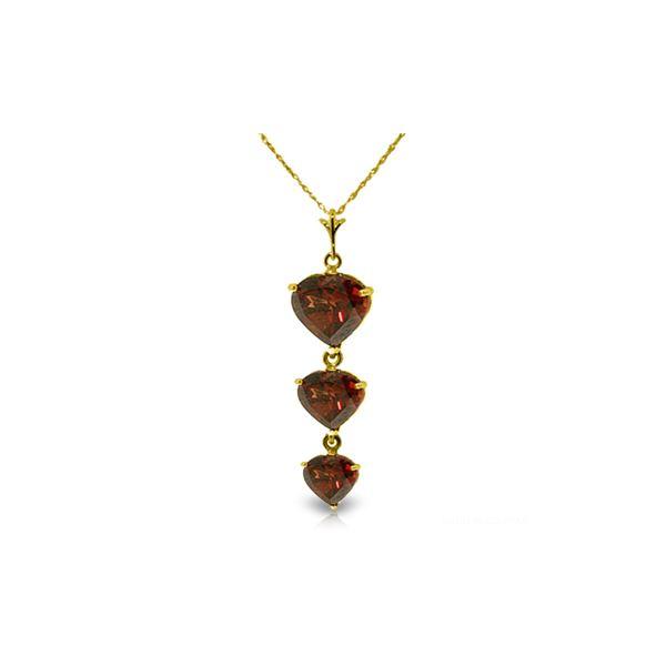 Genuine 3.03 ctw Garnet Necklace 14KT Yellow Gold - REF-36A2K