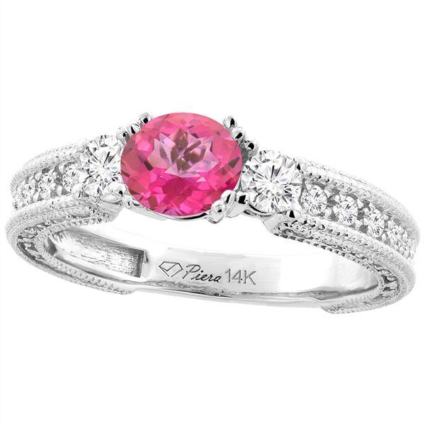 1.55 CTW Pink Topaz & Diamond Ring 14K White Gold - REF-85X5M
