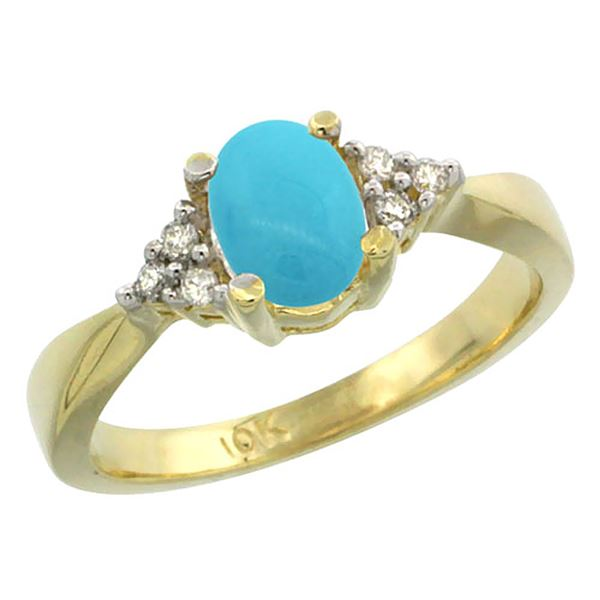 1.06 CTW Turquoise & Diamond Ring 10K Yellow Gold - REF-29M7A