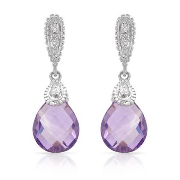 Natural 4.48 CTW Amethyst & Diamond Earrings 14K White Gold - REF-43N2Y