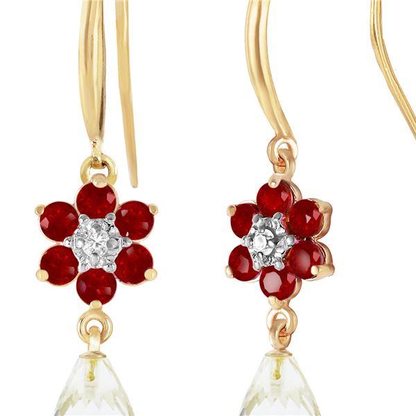 Genuine 5.51 ctw Rubies, White Topaz & Diamond Earrings 14KT Yellow Gold - REF-49R8P