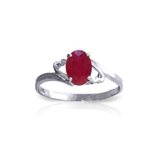Genuine 1.15 ctw Ruby Ring 14KT White Gold - REF-24F5Z