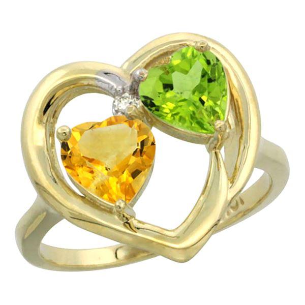 2.61 CTW Diamond, Citrine & Peridot Ring 14K Yellow Gold - REF-33A9X