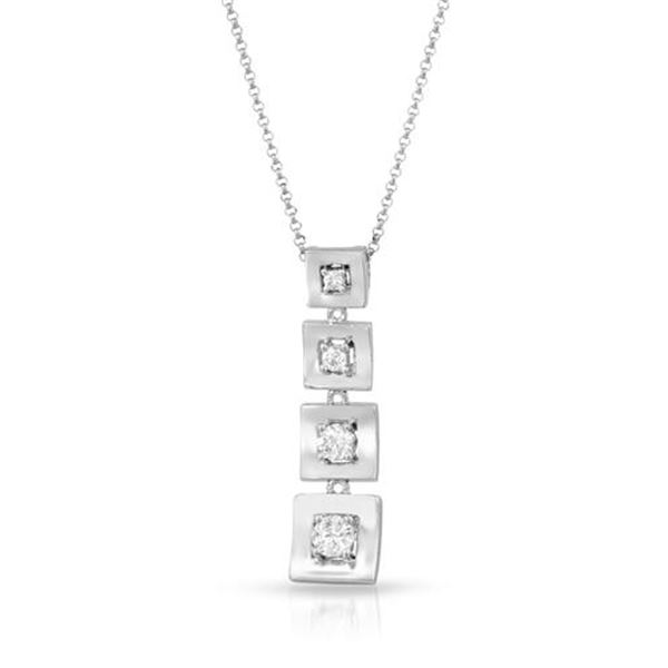 Natural 0.48 CTW Diamond Necklace 14K White Gold - REF-81W9H