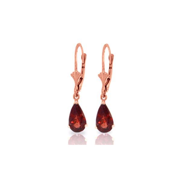 Genuine 2.45 ctw Garnet Earrings 14KT Rose Gold - REF-28Y5F