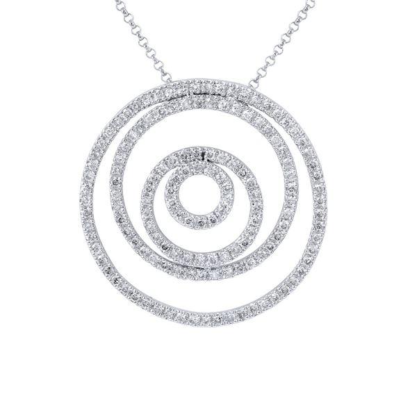 Natural 1.18 CTW Diamond Necklace 14K White Gold - REF-104K4R