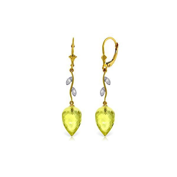 Genuine 18.02 ctw Lemon Quartz & Diamond Earrings 14KT Yellow Gold - REF-45K8V