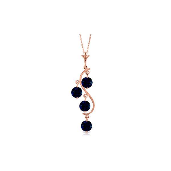 Genuine 2 ctw Sapphire Necklace 14KT Rose Gold - REF-36Y9F